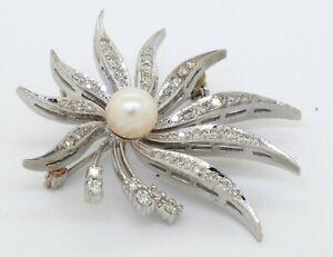 Vintage heavy 14K WG .87CTW VS diamond & 7mm pearl flower brooch/pendant