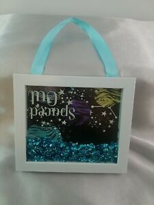 """Galaxy """"Spaced Out"""" Planet Shadow Box Art Wall Hanging Blue Sequin Home Decor"""