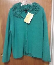NEW Womens L Large Dialogue QVC Teal Knit Button Up Sweater w/ Fringe Collar NWT