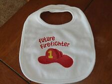 Embroidered Baby Bib - Future Firefighter - Neutral