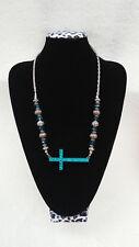 Womens Bling Rhinestone Teal Beaded Bead Silver Tone Sideways Cross Necklace