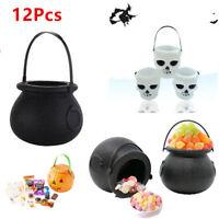 12Pcs Halloween Props Plastic Witch Cauldron Skull Pot Candy Kettles Party Decor