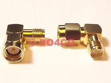 90° Winkeladapter - Adapter SMA Stecker auf reverse (rp) SMA Buchse (J05F)
