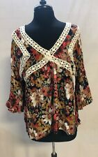 UMGEE Flutter Sleeve Floral Pullover Tunic Top Women's Size S EUC