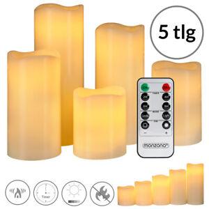 5 LED Kerzen Echtwachskerze Kerze mit Fernbedienung Timer flackernd warmweiß Set