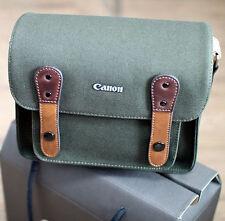 Canon EOS M5 M6 Canvas Camera Case Mini Small Bag w/ Shoulder Strap (Khaki)