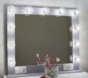 SILVER GLITTER HOLLYWOOD STYLE LIGHTED VANITY MAKEUP MIRROR, 32 x 28