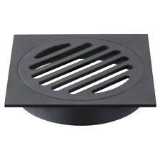 110*110mm Floor Waste Square Matt Black Inside Round Shape for Bathroom