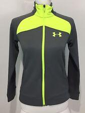 Under Armour Boys Medium Jacket Track Gray Neon Yellow AllseasonGear EUC