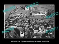 OLD 6 X 4 HISTORIC PHOTO OF ROCHESTER KENT ENGLAND, VIEW OF TOWN & CASTLE c1940