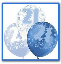 12 X 21st Birthday Balloons In Blue & White Party Decorations Supplies