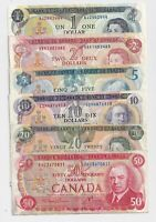 1970s Bank of Canada - $1-$2-$5-$10-$20-$50 - Circulated