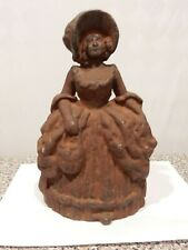 ~Lg Vintage Victorian Cast Iron Lady Woman Girl Door Stop Bonnet Hat Hoop Skirt~