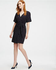 Ann Taylor - MEDIUM (8-10) Navy Blue Diamond Dot Wrap Dress $149.00