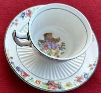 Sebring Demitasse Cup + Saucer Ivory Porcelain Flower Design Including in Cup