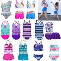 Kids Girls Swimming Bikini Costume Swimwear Swimsuit Beach Tops+Shorts Clothes