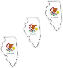 3x Illinois Map Flag Stickers Silhouette With Flag for Helmet Hard Hat Locker