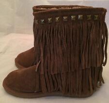 Apres by Land Ski Bunny Moccasin Boots Women Size 7 Fur Trim Tassels