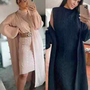 Women's High neck Knitted Jumper Dress Open Long Cardigan Two Piece Co-ord Set