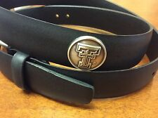 Men's Black Genuine Leather Belt with Texas Tech Red Raiders Conchos 46  RLE