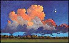Wm HAWKINS  Rose  Clouds  Moon Nocturen Impressionism Landscape Oil Painting Art