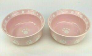 "Paws & Fish Ceramic Dog or Cat Bowl 6"" Diameter Set of 2 Pink With Paw Prints"