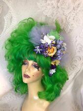 Green Fun Drag Show Wig with Purple Fascinator
