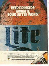 1990 Miller Lite Beer Vintage Magazine Ad 'Favorite 4 Letter Word'