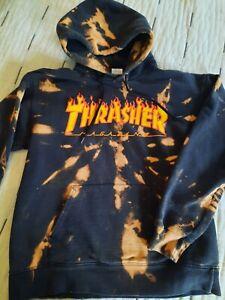 Thrasher Magazine 90s Skateboard Skate Surf Hoodie Sweatshirt Ti Dye Bleach S