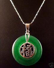 vert jade,Mots incrustés bénédiction chinois, pendentif ,avec la chaîne gratuite