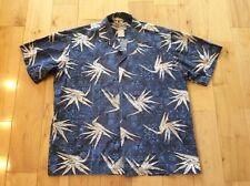 Men's Hilo Hattie Hawaiian Shirt Large L Cotton Blue Birds of Paradise Club EUC
