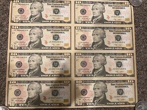 2009 $10 Uncut Sheet Of 8 notes Un Cut sheet Federal Reserve Note $80 FV NR