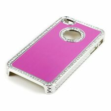 Apple iPhone 4 4S 4G Pink Chrome Bling Diamond Gem Luxury Hard Case Cover Skin
