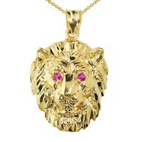 "Simulated Round Ruby 14K Yellow Gold Finish Lion Head Pendant with 18"" Chain"