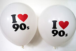 """90s Party Decoration - Pack of Ten I Love 90s Balloons 12"""" Balloons"""