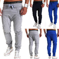 Trainingshose Loose Fit Harem Jogginghose Sporthose Fitness Hose Grau/Navy NEU