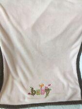 CARTER'S Light Pink Brown Trim BABY Girl Security BLANKET Bird Nest Ladybug EUC