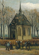 Vincent Van Gogh 'Congregation Leaving Church in Nuenen 1884/85. Genuine Canvas.