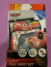 Disney Pixar Cars 3 Full Size Bed Sheet Set 4 Piece Lightning Mcqueen Bedding