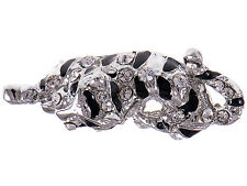 Antique Silver Tone Cute Plated Crouching Panther Black Enamel Jaguar Sized Ring