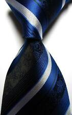 New Classic Floral Stripes Blue White JACQUARD WOVEN 100% Silk Men's Tie Necktie