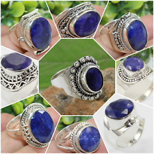 925 SOLID STERLING SILVER JEWELRY RING AAA SAPPHIRE CORUNDUM CHRISTMAS GIFT