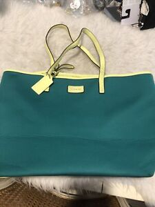 Coach Park Metro Neoprene Tote Teal Green Yellow Straps
