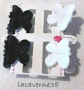 Pince crabe cheveux papillon 2 noir et 2 blanc 20mm accessoires