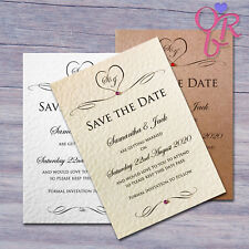 10 Wedding Save the Date / Evening Cards Invitations Personalised with Envelopes