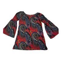 WinWin Women's Bell Sleeve Paisley Print Tunic Top Size S-M Multi Colored
