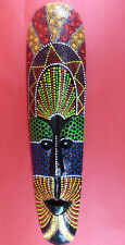 Indonesian Wooden Mask Hand Painted Tribal Bali Ceremonial Long Tiki Decor