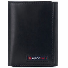 Alpine Swiss Leon Mens RFID Protected Trifold Genuine Leather Wallet ID Window