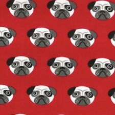 PUG DOG POLYCOTTON FABRIC - BY THE METRE
