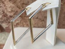10K TWO TONE GOLD DIAMOND SHAPE HOOP EARRINGS 2.5 GRAMS